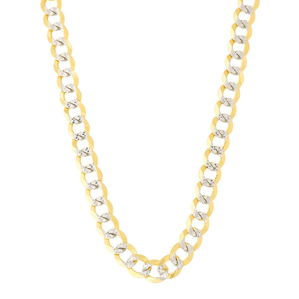 14k 2 Tone Yellow And White Gold Curb Chain Necklace, 4.7mm