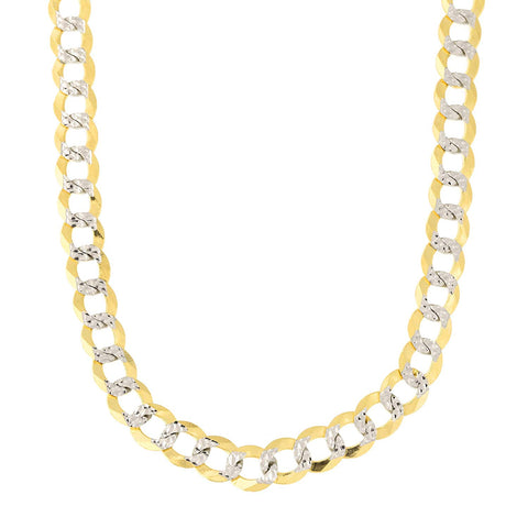 14k 2 Tone Yellow And White Gold Curb Chain Necklace, 5.7mm