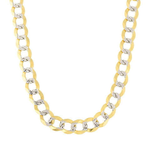 14k 2 Tone Yellow And White Gold Curb Chain Necklace, 7mm