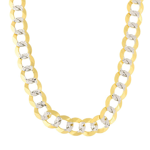 14k 2 Tone Yellow And White Gold Curb Chain Necklace, 8.2mm