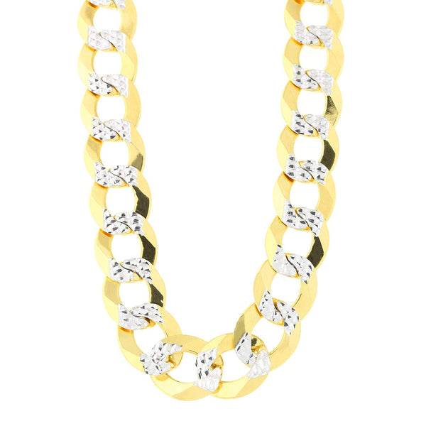 14k 2 Tone Yellow And White Gold Curb Chain Necklace, 11.2mm