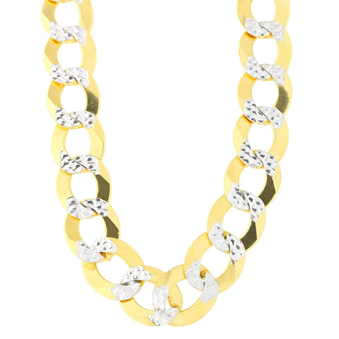 14k 2 Tone Yellow And White Gold Curb Chain Necklace, 12.2mm