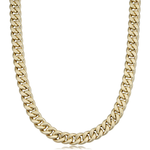 14k Yellow Gold Miami Cuban Curb Hollow Link Mens Necklace, 22""