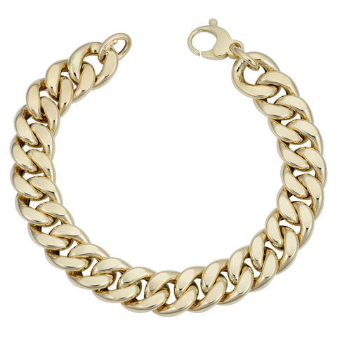 14k Yellow Gold Miami Cuban Curb Hollow Link Mens Bracelet, 8.5""