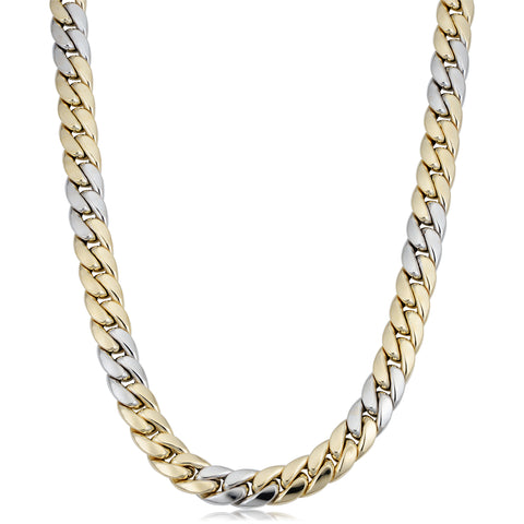 14k Yellow And White Gold Miami Cuban Curb Hollow Link Mens Necklace, 22""