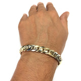 14k Yellow And White Gold Miami Cuban Curb Hollow Link Mens Bracelet, 8.5""
