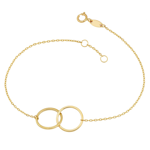14k Yellow Gold Double Circle Womens Bracelet, 7.5