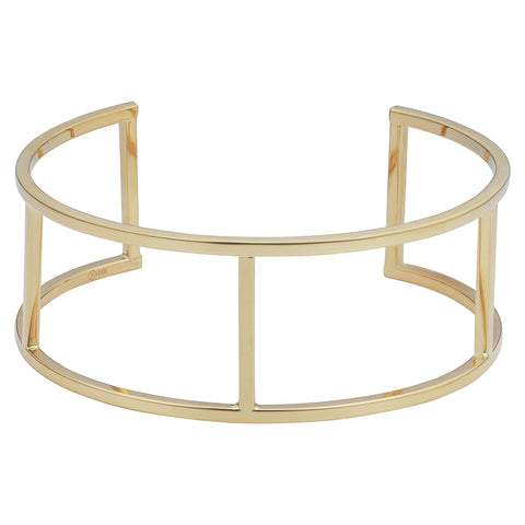14k Yellow Gold Bar Women's Cuff Bracelet, 7.5""