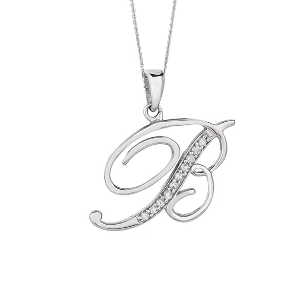 """B"" Sterling Silver Rhodium Plated Script Initial Letter With Diamonds On 18 Inch Chain ( 0.05 Tcw) - JewelryAffairs  - 1"