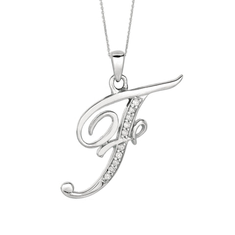 """F"" Sterling Silver Rhodium Plated Script Initial Letter With Diamonds On 18 Inch Chain ( 0.05 Tcw) - JewelryAffairs  - 1"