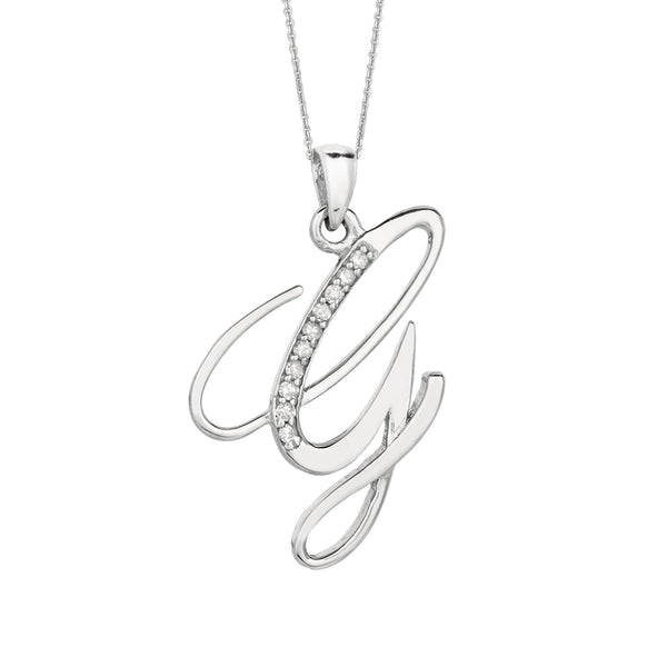 """G"" Sterling Silver Rhodium Plated Script Initial Letter With Diamonds On 18 Inch Chain ( 0.05 Tcw) - JewelryAffairs  - 1"