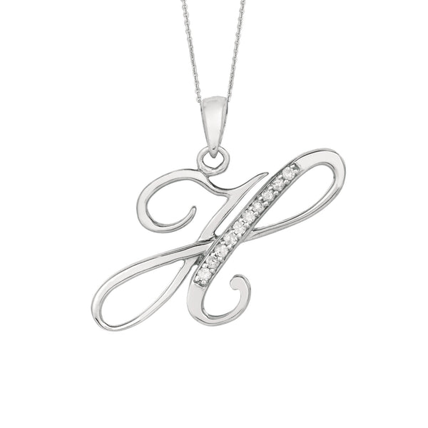 """H"" Sterling Silver Rhodium Plated Script Initial Letter With Diamonds On 18 Inch Chain ( 0.05 Tcw) - JewelryAffairs  - 1"