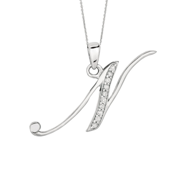 """N"" Sterling Silver Rhodium Plated Script Initial Letter With Diamonds On 18 Inch Chain ( 0.05 Tcw) - JewelryAffairs  - 1"