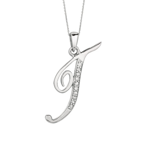 """T"" Sterling Silver Rhodium Plated Script Initial Letter With Diamonds On 18 Inch Chain ( 0.05 Tcw) - JewelryAffairs  - 1"
