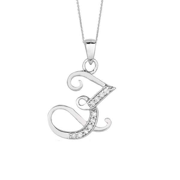 """Z"" Sterling Silver Rhodium Plated Script Initial Letter With Diamonds On 18 Inch Chain ( 0.05 Tcw) - JewelryAffairs  - 1"