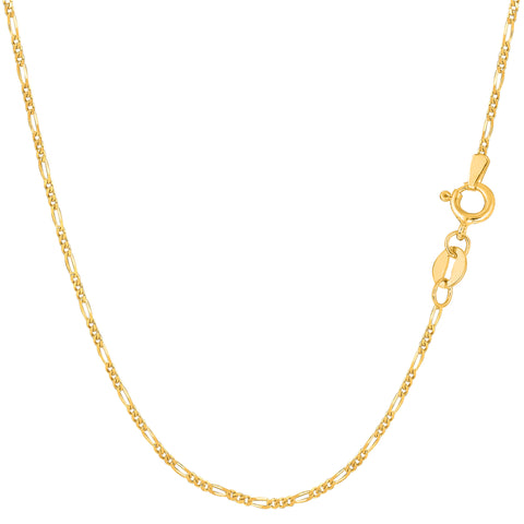 14k Yellow Solid Gold Figaro Chain Necklace, 1.3mm