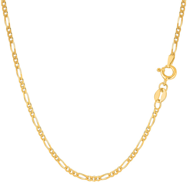 14k Yellow Solid Gold Figaro Chain Bracelet, 1.9mm, 7""