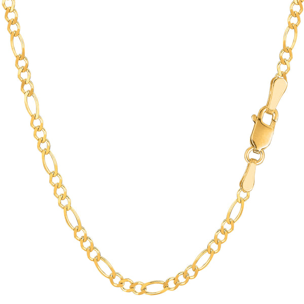 14k Yellow Solid Gold Figaro Chain Necklace, 2.6mm