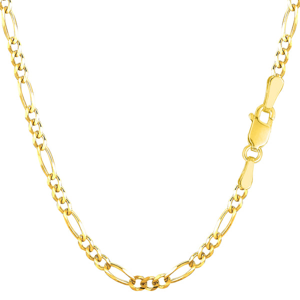 14k Yellow Solid Gold Figaro Chain Necklace, 3.0mm