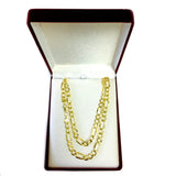 14k Yellow Solid Gold Figaro Chain Bracelet, 3.8mm
