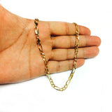 14k Yellow Solid Gold Figaro Chain Necklace, 5.0mm