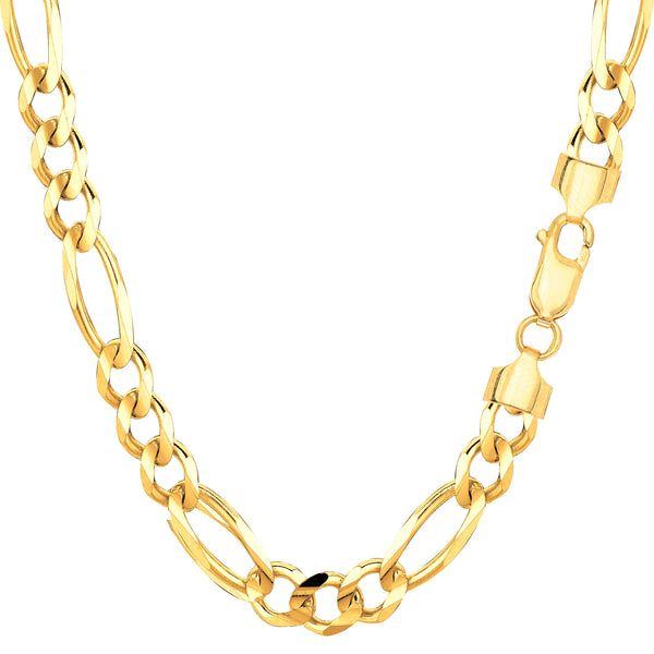 14k Yellow Solid Gold Figaro Chain Necklace, 6.0mm