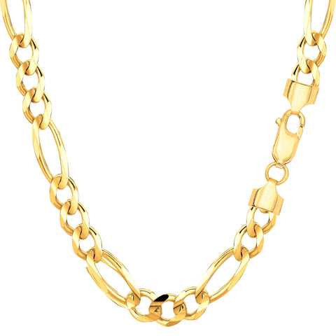 14k Yellow Gold Classic Figaro Chain Necklace, 6.0mm - JewelryAffairs  - 1