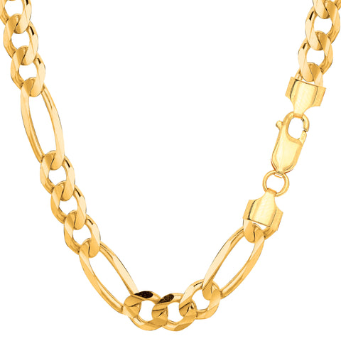 14k Yellow Solid Gold Figaro Chain Bracelet, 7.0mm