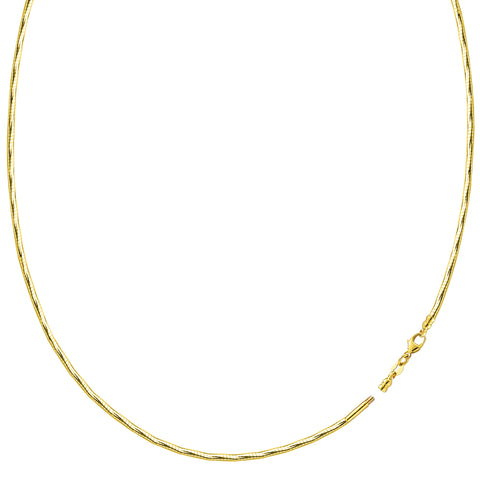 Diamond Cut Omega Chain Necklace With Screw Off Lock In 14k Yellow Gold, 1.5mm - JewelryAffairs  - 1
