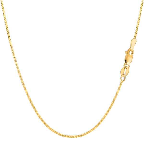 14k Yellow Gold Gourmette Chain Necklace, 1.0mm