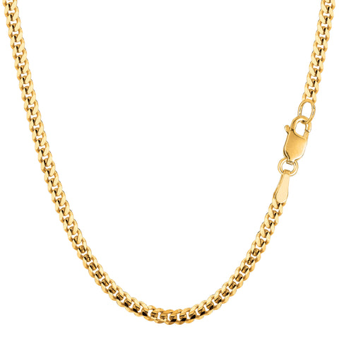 14k Yellow Gold Gourmette Chain Necklace, 3.0mm - JewelryAffairs  - 1