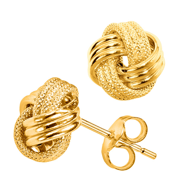 14k Gold Shiny And Textured Triple Row Love Knot Stud Earrings, 10mm - JewelryAffairs  - 1
