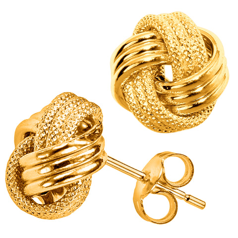 14k Yellow Gold Shiny And Textured Triple Row Love Knot Stud Earrings, 13mm - JewelryAffairs  - 1