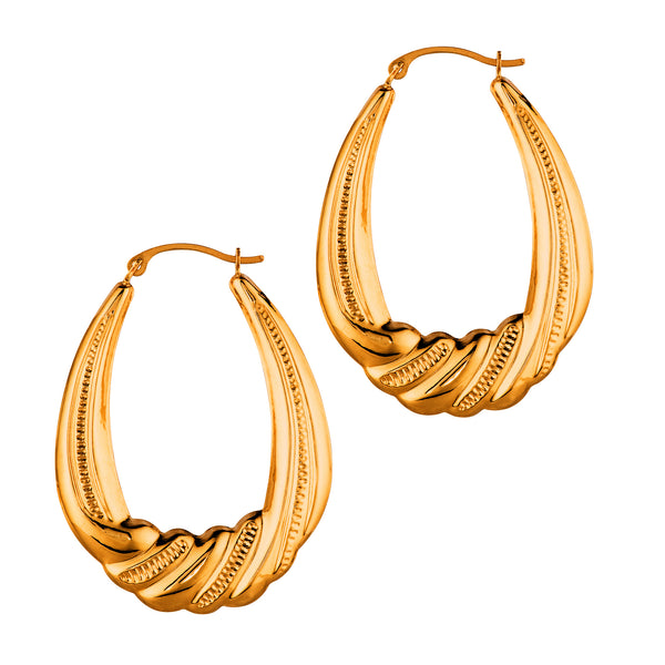 14K Yellow Gold Textured Oval Shape Hoop Earrings, Length 35mm