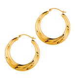 14K Yellow Gold Shiny Textured Round Hoop Earrings, Diameter 25mm