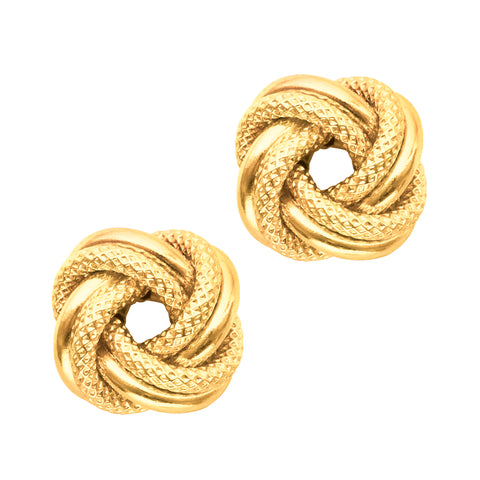 14k Yellow Gold Shiny And Textured Double Row Love Knot Stud Earrings, 10mm - JewelryAffairs  - 1
