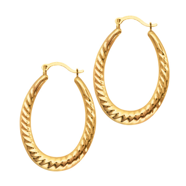 14K Yellow Gold Shiny Textured Oval Shape Hoop Earrings, Length 30mm