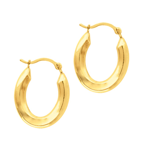 14K Yellow Gold Oval Shape Hoop Earrings, Diameter 20mm
