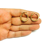 14K Gold Round Wavy Hoop Earrings, 20mm