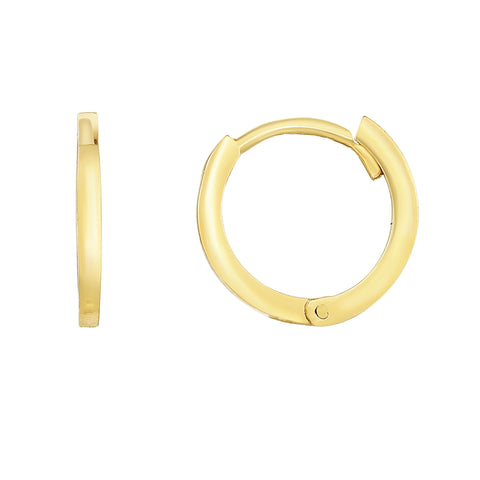 14K Gold Round Huggie Hoop Earrings, 12mm