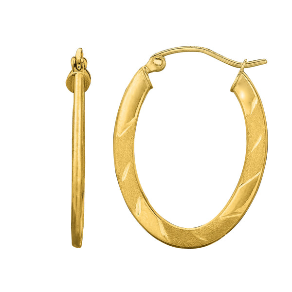 14K Yellow Gold Textured Shiny Flat Oval Hoop Earrings, Length 27mm