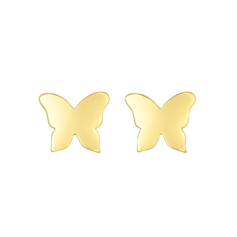 14k Yellow Gold Butterfly Stud Earrings