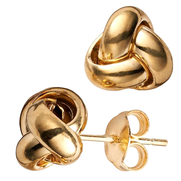 14k Yellow Gold Single Row Love Knot Stud Earrings, 10mm - JewelryAffairs  - 1
