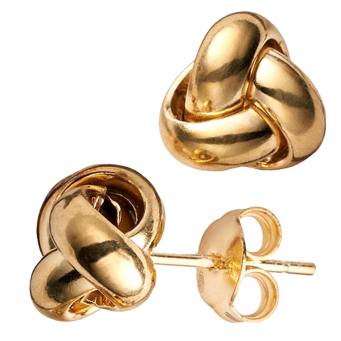 14k Yellow Gold Single Row Love Knot Stud Earrings, 9mm