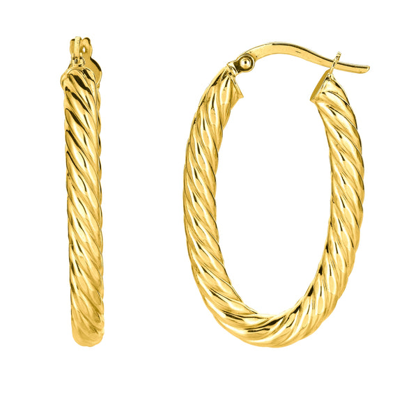 14K Yellow Gold Shiny Oval Shape Twists Hoop Earrings, Length 35mm
