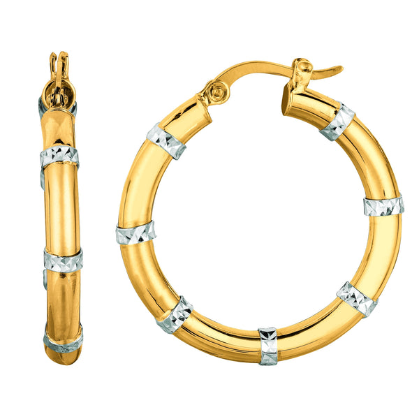 14K Yellow And White Gold Diamond Cut Fashion Sparkle Hoop Earrings, Diameter 25mm