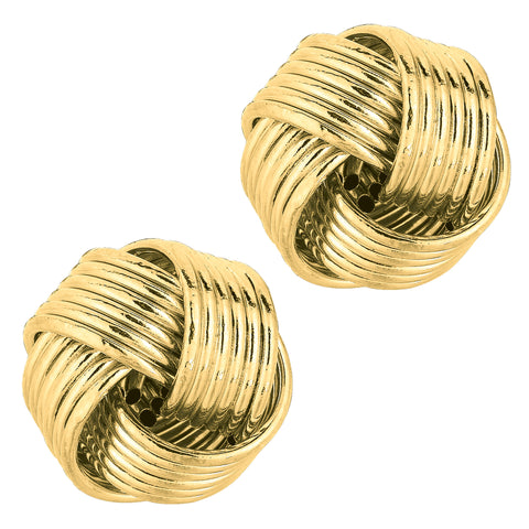 14k Yellow Gold Shiny 6 Row Love Knot Stud Earrings, 12mm - JewelryAffairs  - 1