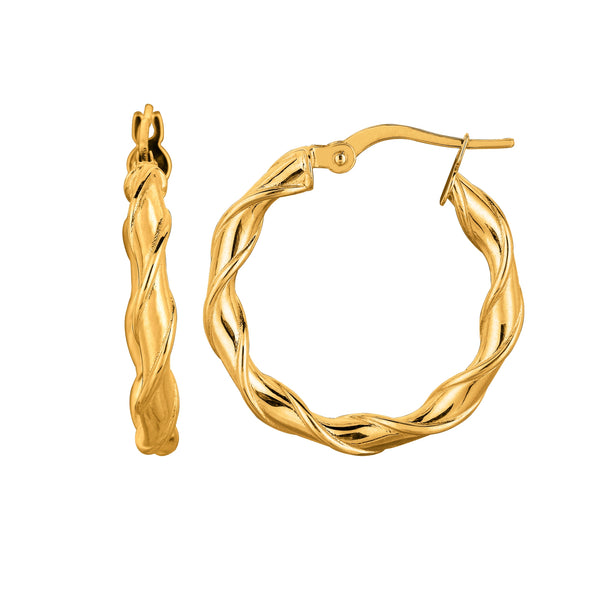 14K Yellow Gold Round Type Twisted Hoop Earrings, Diameter 24mm
