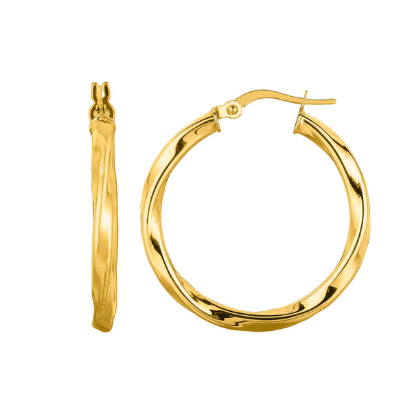14K Yellow Gold Shiny Round Tube Italian Twists Hoop Earring, Diameter 25mm
