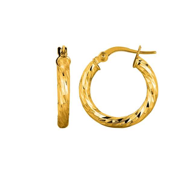 14K Yellow Gold Shiny Diamond Cut Sparkle Round Hoop Earrings, Diameter 15mm